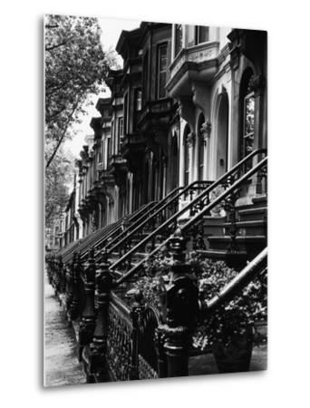 Stoops on 19th Century Brooklyn Row Houses-Karen Tweedy-Holmes-Metal Print