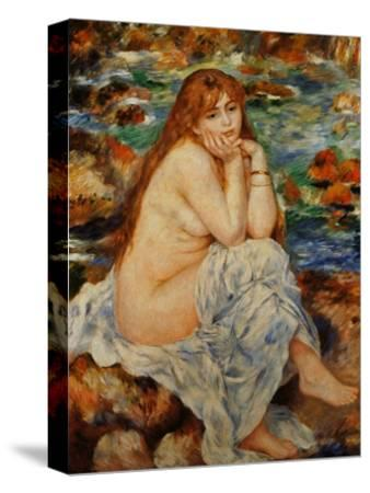Bather Seated on a Sand Bank-Pierre-Auguste Renoir-Stretched Canvas Print