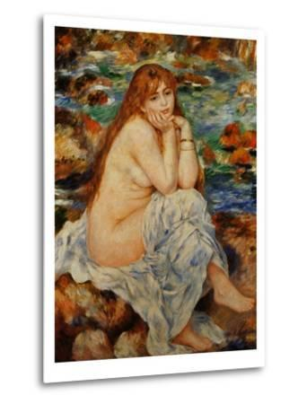 Bather Seated on a Sand Bank-Pierre-Auguste Renoir-Metal Print