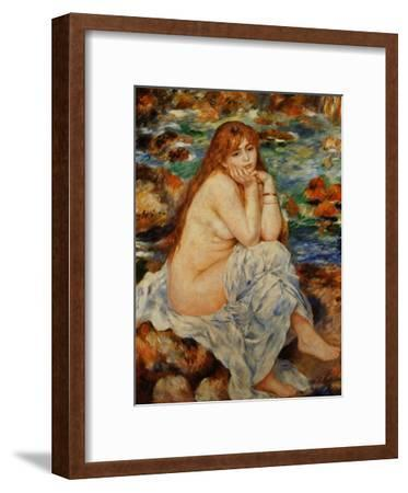 Bather Seated on a Sand Bank-Pierre-Auguste Renoir-Framed Giclee Print