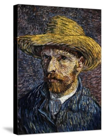 Self-Portrait with Straw Hat-Vincent van Gogh-Stretched Canvas Print