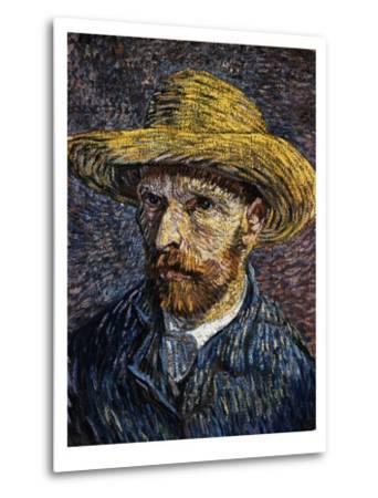 Self-Portrait with Straw Hat-Vincent van Gogh-Metal Print