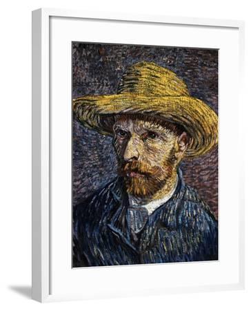 Self-Portrait with Straw Hat-Vincent van Gogh-Framed Giclee Print