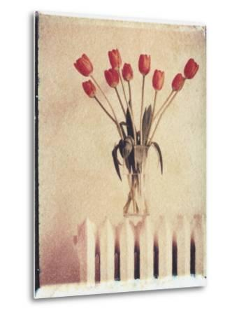 Vase of Tulips on a Radiator-Natalie Fobes-Metal Print