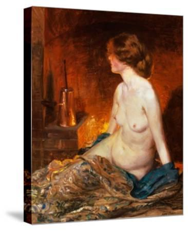 Nude Figure by Firelight-Guy Rose-Stretched Canvas Print