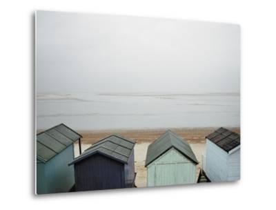 Cabanas on Empty Beach--Metal Print