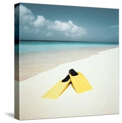 Swim Fins on the Beach--Stretched Canvas Print