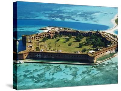 Aerial View of Fort Jefferson-Bob Krist-Stretched Canvas Print