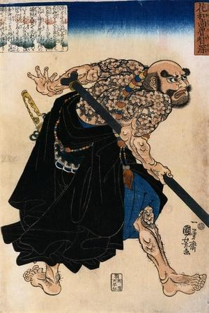 Japanese Print of a Samurai Possibly by Kunisada-Stefano Bianchetti-Stretched Canvas Print