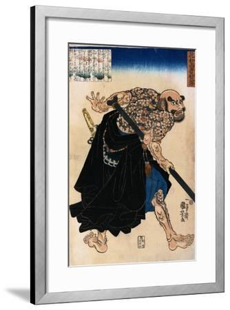 Japanese Print of a Samurai Possibly by Kunisada-Stefano Bianchetti-Framed Giclee Print