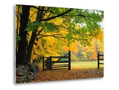 Fall Foliage Surrounds an Open Gate-Kathleen Brown-Metal Print
