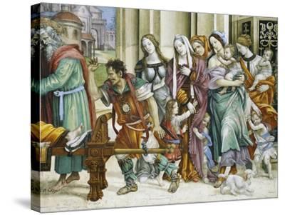 Detail of Saint John the Evangelist Reuscitating Druisana-Filippino Lippi-Stretched Canvas Print