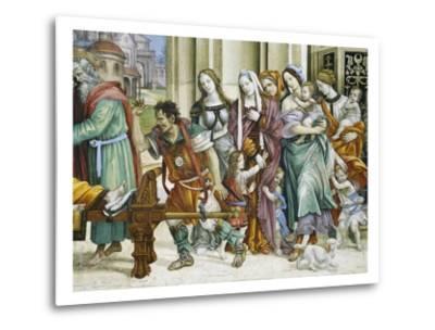 Detail of Saint John the Evangelist Reuscitating Druisana-Filippino Lippi-Metal Print