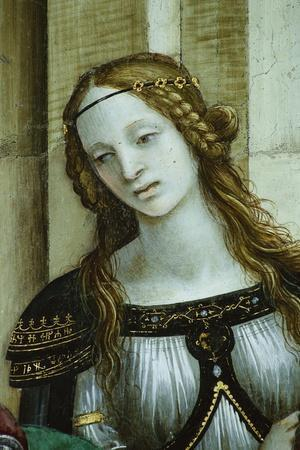 Detail of Young Woman from Saint John the Evangelist Reuscitating Druisana-Filippino Lippi-Stretched Canvas Print