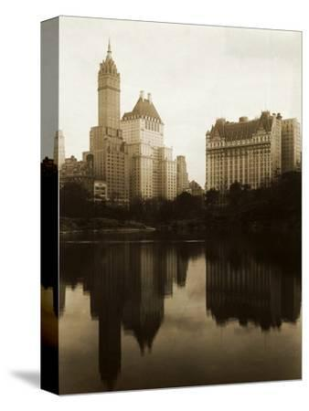 View of the Plaza Hotel, the Savoy Hotel and the Sherry-Netherland Hotel Reflected in the Water--Stretched Canvas Print