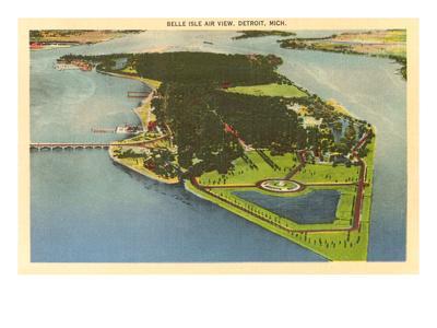 Aerial View, Belle Isle, Detroit, Michigan--Premium Giclee Print