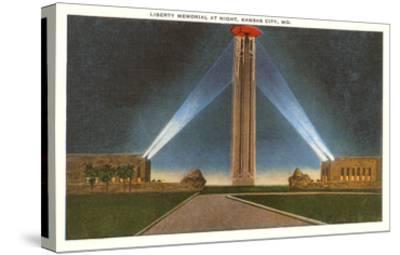 Liberty Memorial at Night, Kansas City, Missouri--Stretched Canvas Print
