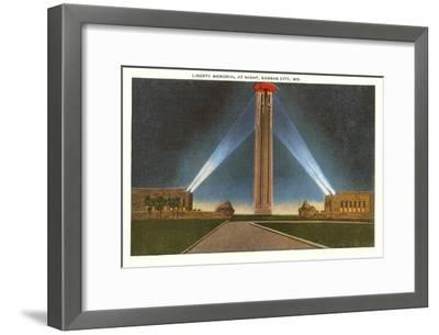 Liberty Memorial at Night, Kansas City, Missouri--Framed Art Print