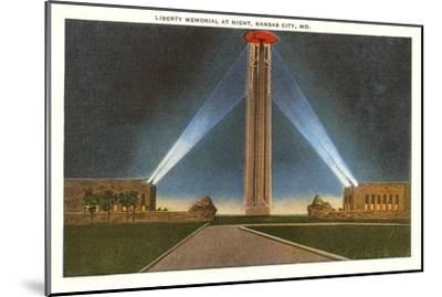 Liberty Memorial at Night, Kansas City, Missouri--Mounted Art Print