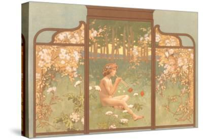 Art Nouveau Screen with Faun Playing Pipes--Stretched Canvas Print