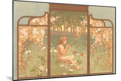 Art Nouveau Screen with Faun Playing Pipes--Mounted Art Print