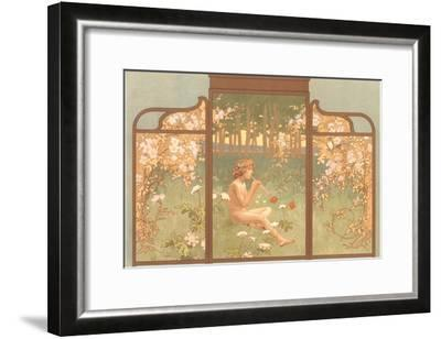 Art Nouveau Screen with Faun Playing Pipes--Framed Art Print