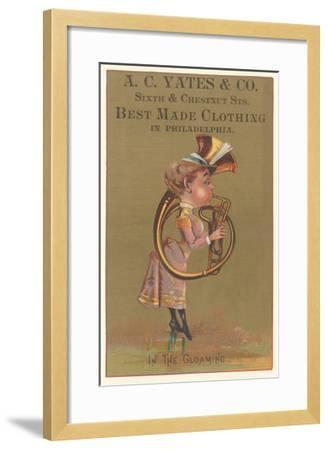 Lady in Bustle Playing French Horn--Framed Art Print