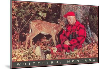 Sleeping Hunter with Fawn, Whitefish, Montana--Mounted Art Print