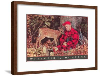 Sleeping Hunter with Fawn, Whitefish, Montana--Framed Art Print