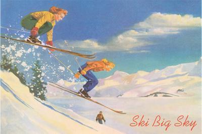 Ski Big Sky, Lady Skiers, Montana--Stretched Canvas Print