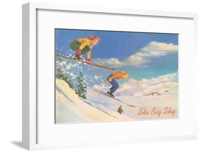 Ski Big Sky, Lady Skiers, Montana--Framed Premium Giclee Print