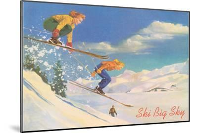 Ski Big Sky, Lady Skiers, Montana--Mounted Premium Giclee Print