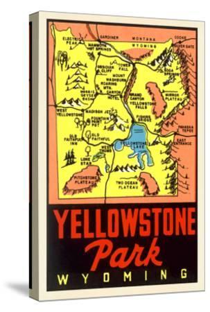 Yellowstone National Park Map, Montana--Stretched Canvas Print