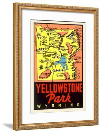 Yellowstone National Park Map, Montana--Framed Art Print