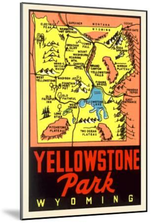 Yellowstone National Park Map, Montana--Mounted Art Print