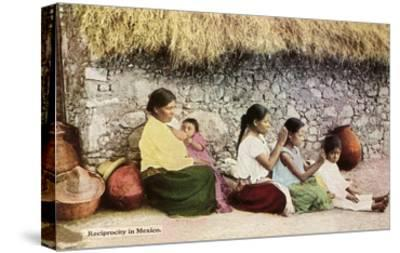 Nitpicking Beggars, Mexico--Stretched Canvas Print