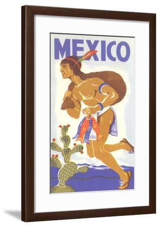Travel Poster with Tarahumara Indian Running--Framed Art Print