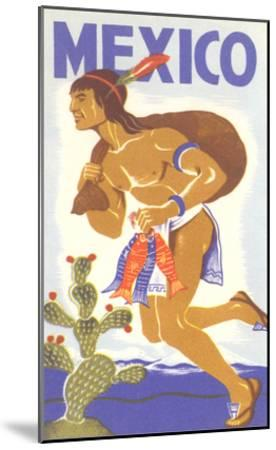 Travel Poster with Tarahumara Indian Running--Mounted Art Print