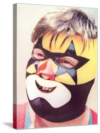 Young Chubby Boy in Wrestling Mask--Stretched Canvas Print