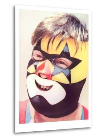 Young Chubby Boy in Wrestling Mask--Metal Print