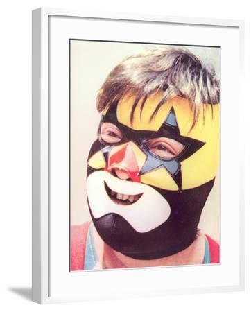 Young Chubby Boy in Wrestling Mask--Framed Art Print