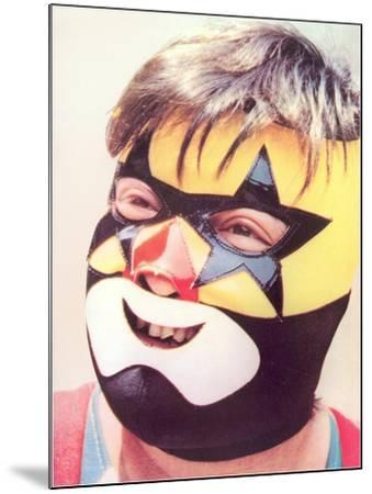 Young Chubby Boy in Wrestling Mask--Mounted Art Print