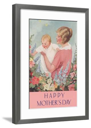 Happy Mothers Day, Mother in Garden with Baby--Framed Art Print