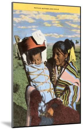 Navajo Mother with Papoose--Mounted Art Print