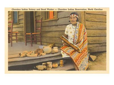 Cherokee Indian with Pottery, North Carolina--Framed Art Print