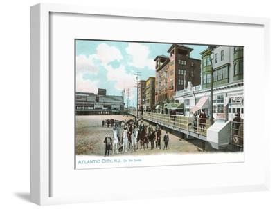 Horses on Beach, Atlantic City, New Jersey--Framed Art Print