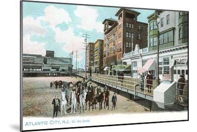 Horses on Beach, Atlantic City, New Jersey--Mounted Art Print