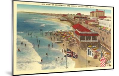 Boardwalk and Beach, Ocean City, New Jersey--Mounted Art Print