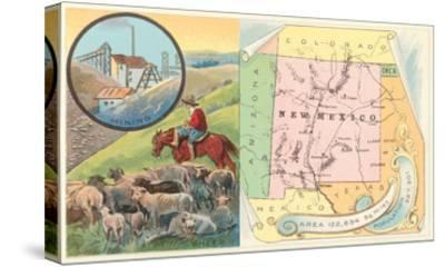 New Mexico Map, Sheep, Mining--Stretched Canvas Print