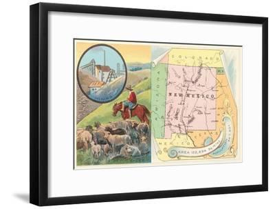 New Mexico Map, Sheep, Mining--Framed Art Print